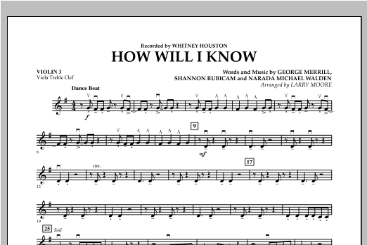 How Will I Know - Violin 3 (Viola Treble Clef) Sheet Music