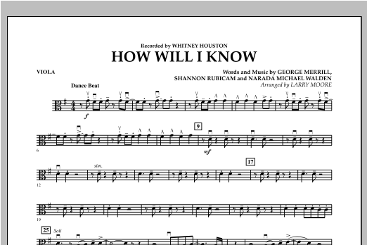 How Will I Know - Viola Sheet Music