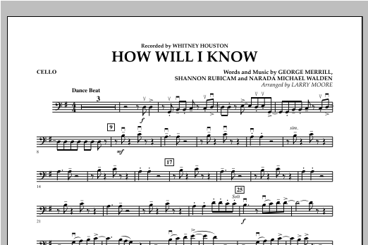 How Will I Know - Cello Sheet Music