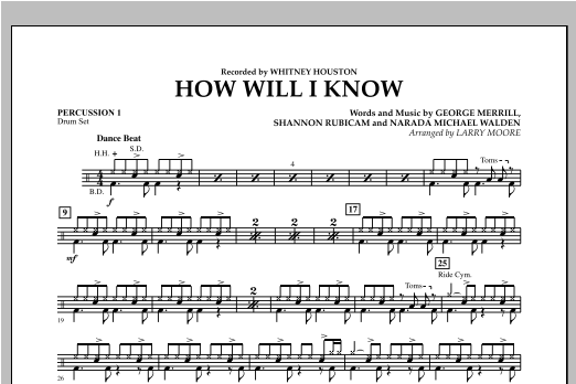 How Will I Know - Percussion 1 Sheet Music