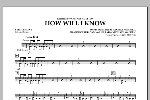 How Will I Know - Percussion 2 Sheet Music
