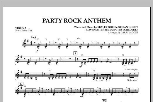 Party Rock Anthem - Violin 3 (Viola Treble Clef) Sheet Music