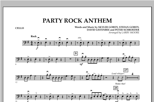 Party Rock Anthem - Cello Sheet Music