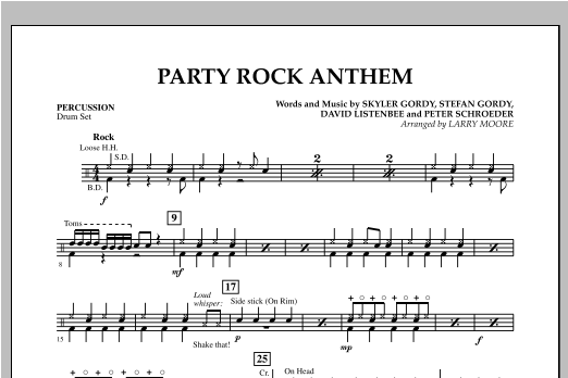 Party Rock Anthem - Percussion Sheet Music