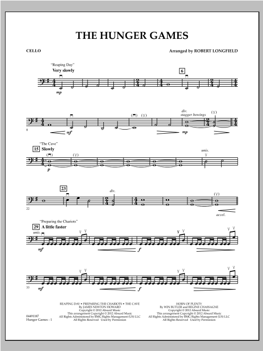The Hunger Games - Cello Sheet Music