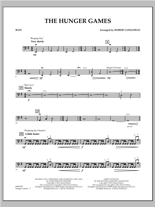 The Hunger Games - Bass Sheet Music