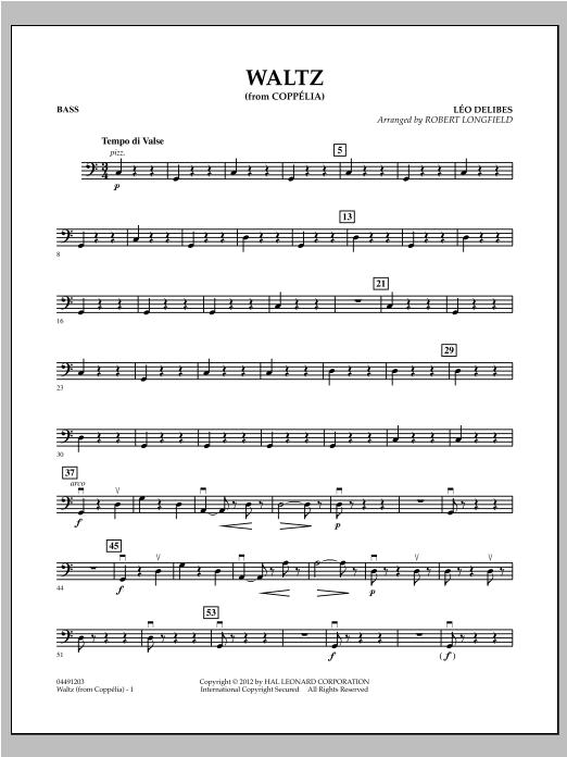 Waltz (from Coppelia) - Bass Sheet Music