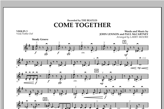 Come Together - Violin 3 (Viola Treble Clef) Sheet Music