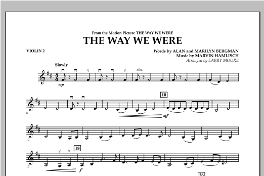 The Way We Were - Violin 2 Sheet Music