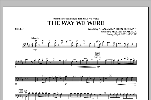 The Way We Were - Cello Sheet Music
