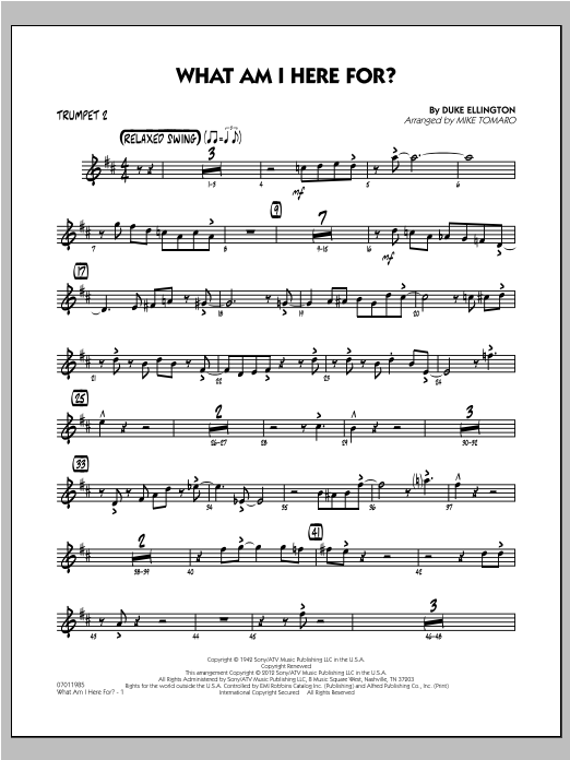 What Am I Here For? - Trumpet 2 Sheet Music