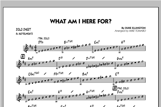 What Am I Here For? - Bb Solo Sheet Sheet Music