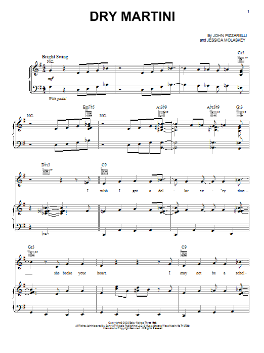 Dry Martini (Piano, Vocal & Guitar (Right-Hand Melody))