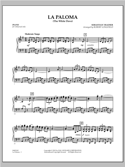 La Paloma (The White Dove) - Piano Sheet Music