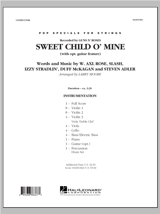 Sweet Child O Mine Score Parts With Optional Guitar Feature