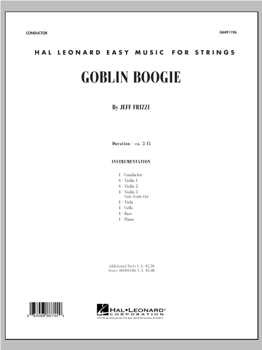 Goblin Boogie (COMPLETE) sheet music for orchestra by Jeff Frizzi. Score Image Preview.