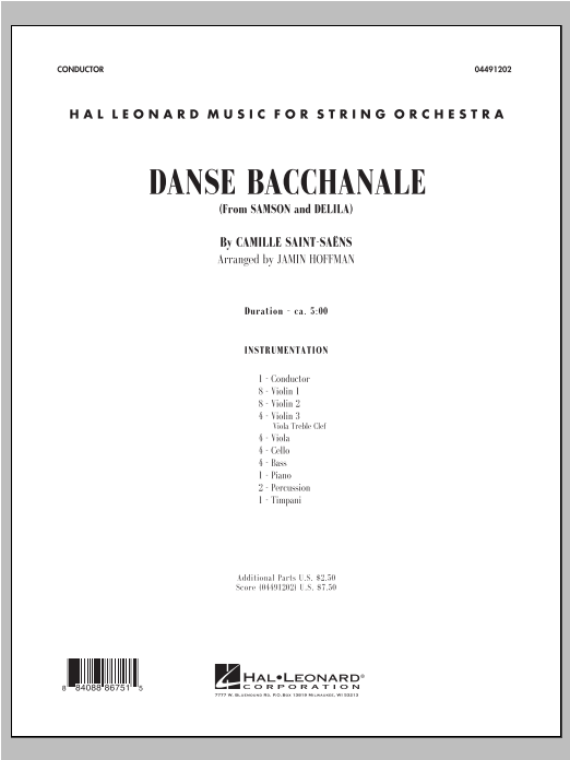 Danse Bacchanale (from Samson And Delila) (COMPLETE) sheet music for orchestra by Jamin Hoffman and Camille Saint-Saens. Score Image Preview.