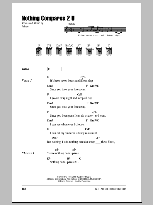 Nothing Compares 2 U by Sinead O\'Connor - Guitar Chords/Lyrics ...