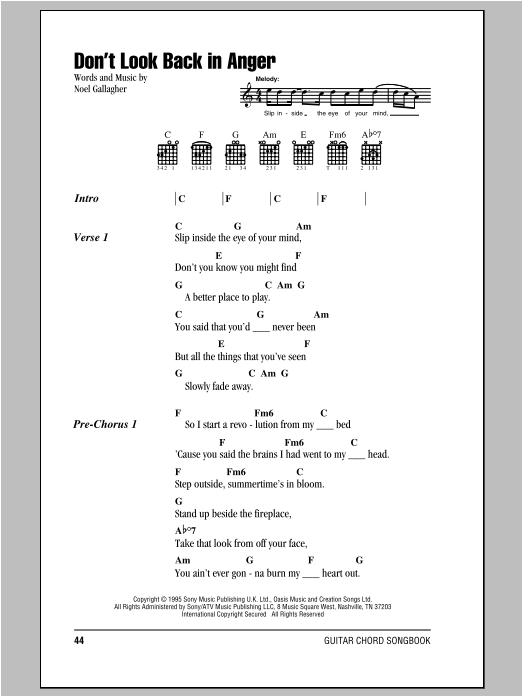 Dont Look Back In Anger Sheet Music By Oasis Lyrics Chords 93665