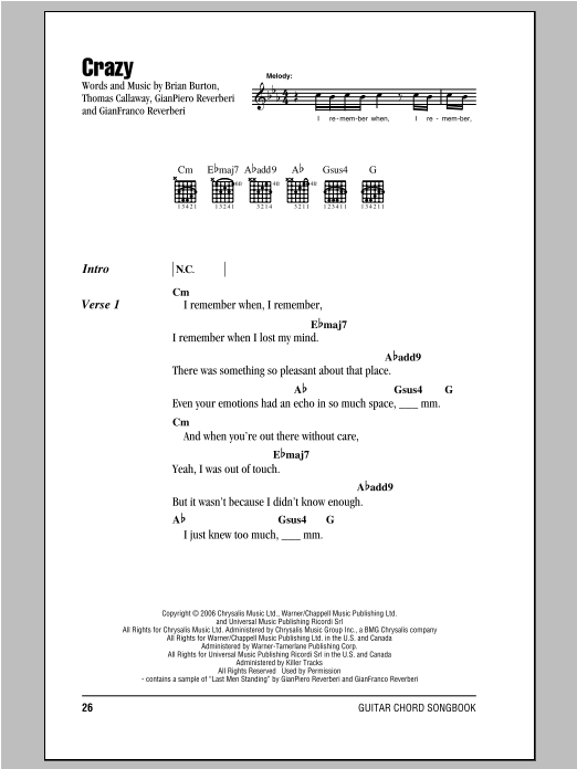Crazy Sheet Music Gnarls Barkley Lyrics Chords