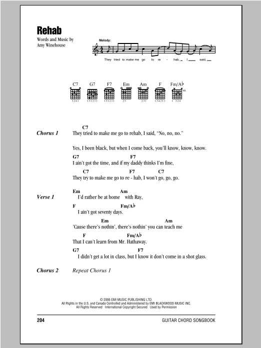 Rehab by Amy Winehouse - Guitar Chords/Lyrics - Guitar Instructor