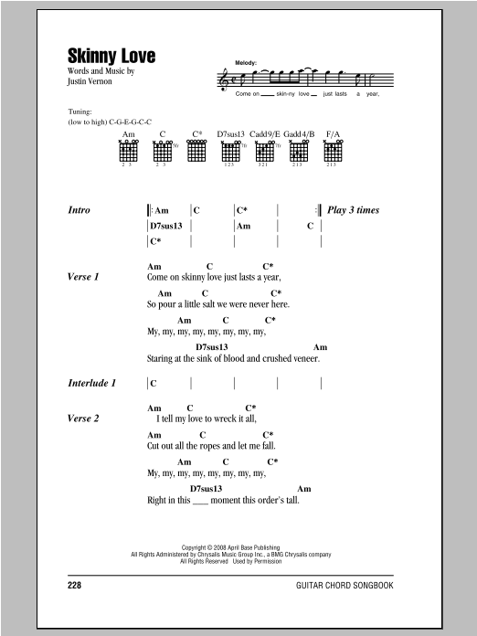 Skinny Love Sheet Music Bon Iver Lyrics Chords