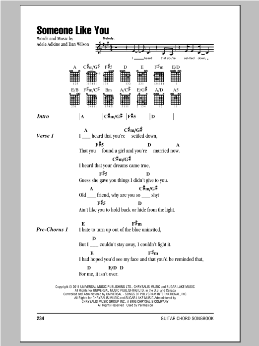 Someone Like You Sheet Music Adele Lyrics Chords