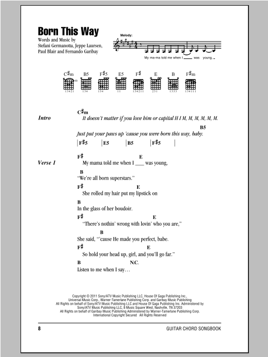 Born This Way Sheet Music
