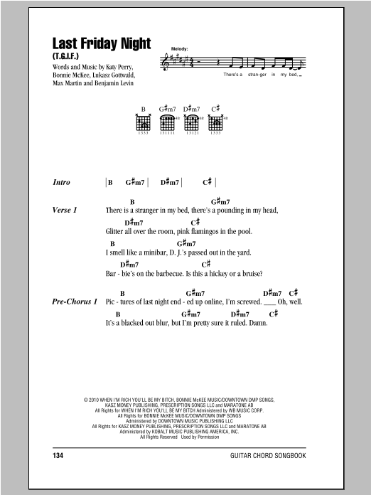 Last Friday Night Tgif Sheet Music By Katy Perry Lyrics