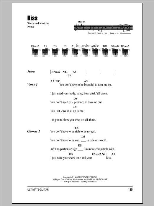 Kiss by Prince - Guitar Chords/Lyrics - Guitar Instructor