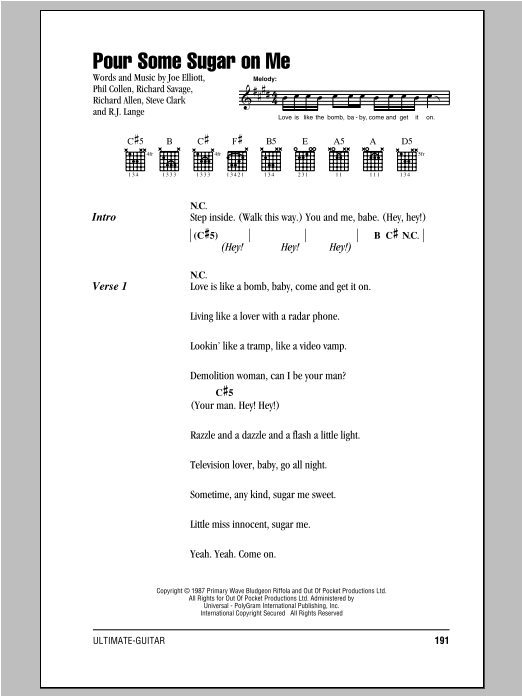 Pour Some Sugar On Me Sheet Music