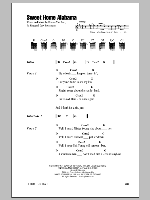 Sweet Home Alabama sheet music by Lynyrd Skynyrd (Lyrics & Chords ...