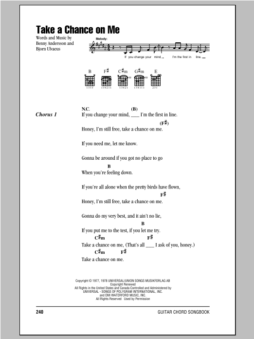 Take A Chance On Me by ABBA - Guitar Chords/Lyrics - Guitar Instructor