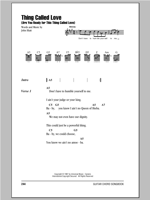 Thing Called Love (Are You Ready For This Thing Called Love) Sheet Music