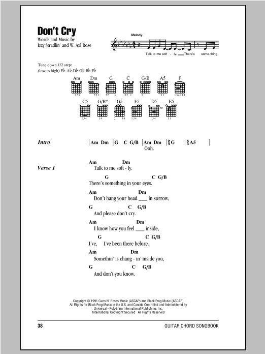 Dont Cry Sheet Music Guns N Roses Lyrics Chords