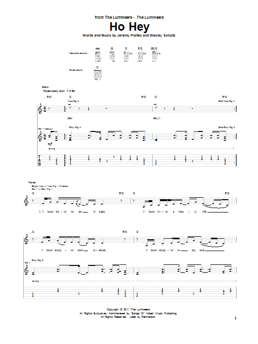 HO HEY CHORDS by The Lumineers  UltimateGuitarCom
