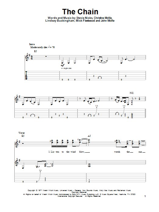 The Chain sheet music by Fleetwood Mac (Guitar Tab Play-Along – 93720)