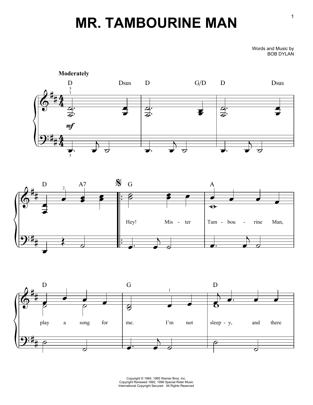 Mr. Tambourine Man | Sheet Music Direct