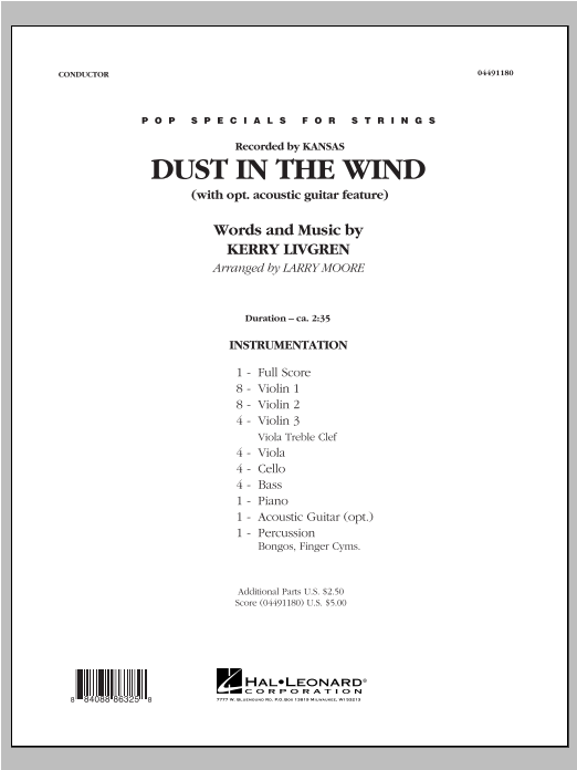 Dust In The Wind (COMPLETE) sheet music for orchestra by Larry Moore, Kansas and Kerry Livgren. Score Image Preview.
