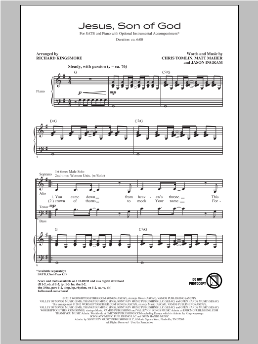 Jesus, Son Of God (arr. Richard Kingsmore) Sheet Music