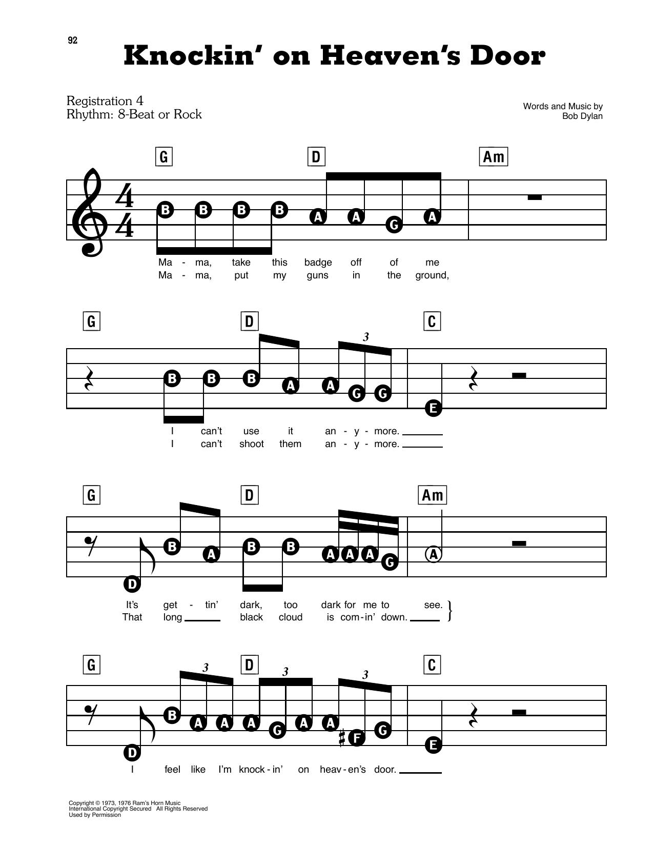 Knockin' On Heaven's Door (E-Z Play Today)