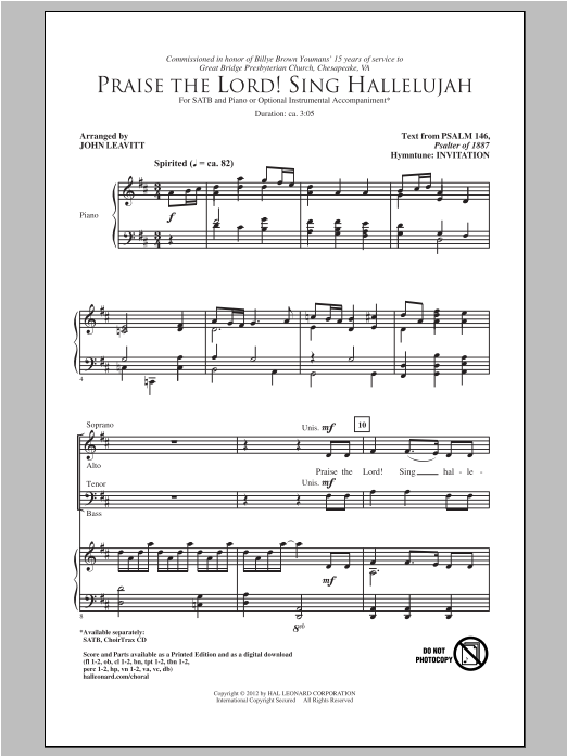 Partition chorale Praise The Lord! Sing Hallelujah de John Leavitt - SATB