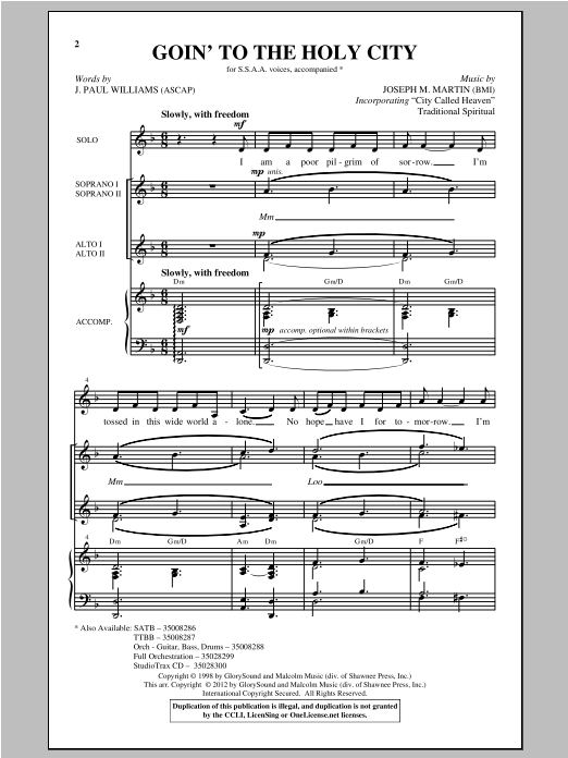 Goin' To The Holy City Sheet Music