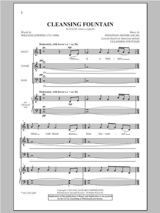 Cleansing Fountain Sheet Music