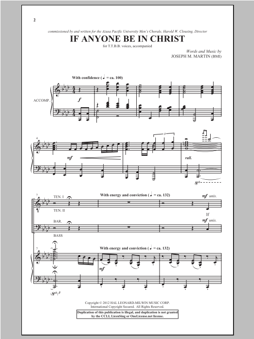 If Anyone Be In Christ Sheet Music
