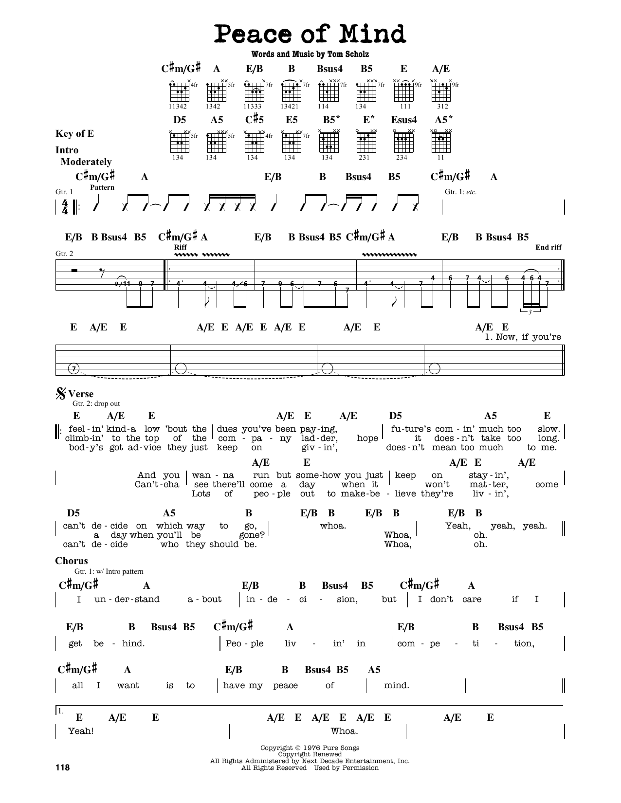 Peace Of Mind (Guitar Lead Sheet)