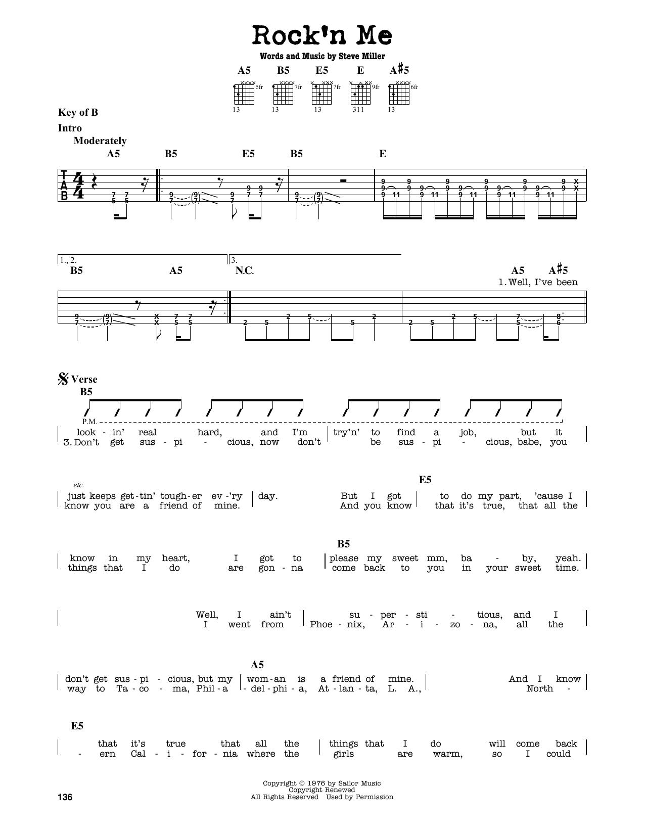 Rock'n Me (Guitar Lead Sheet)