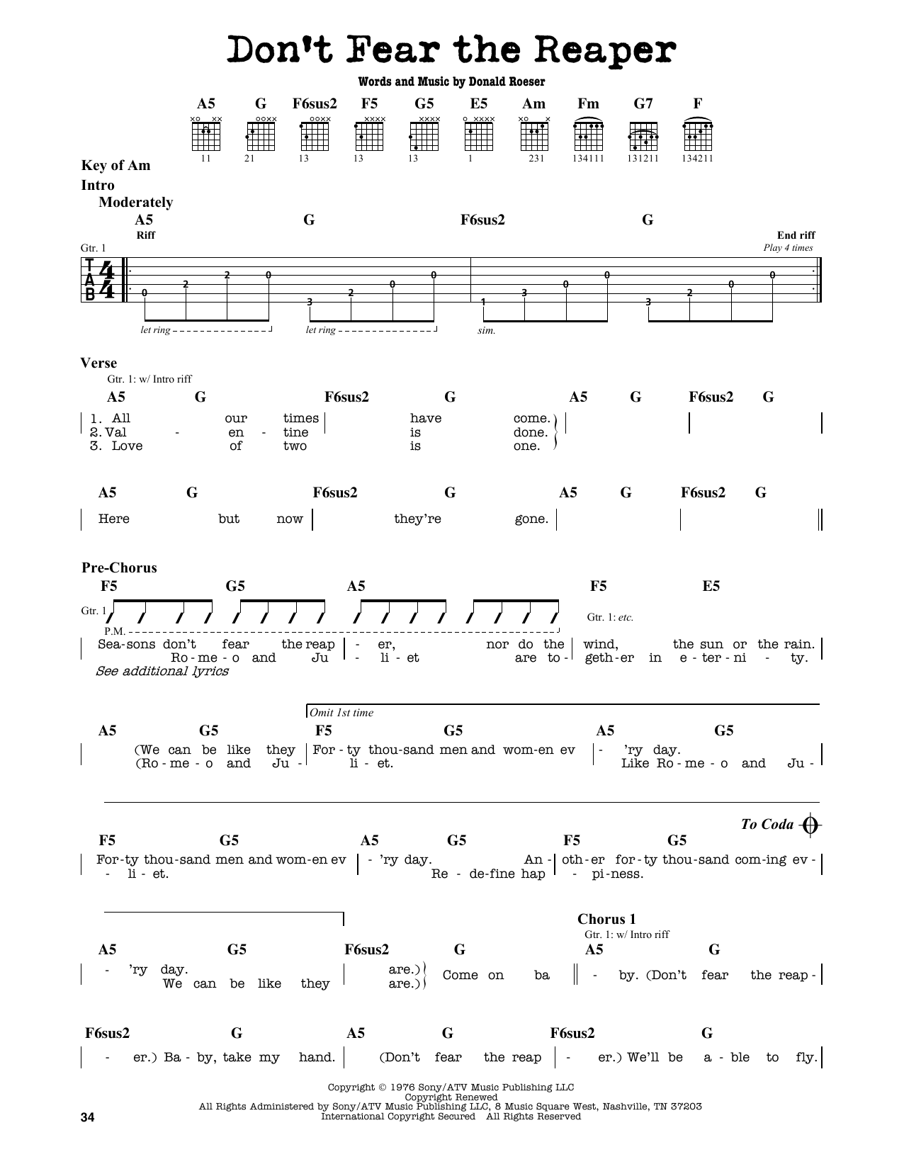 Don't Fear The Reaper Sheet Music