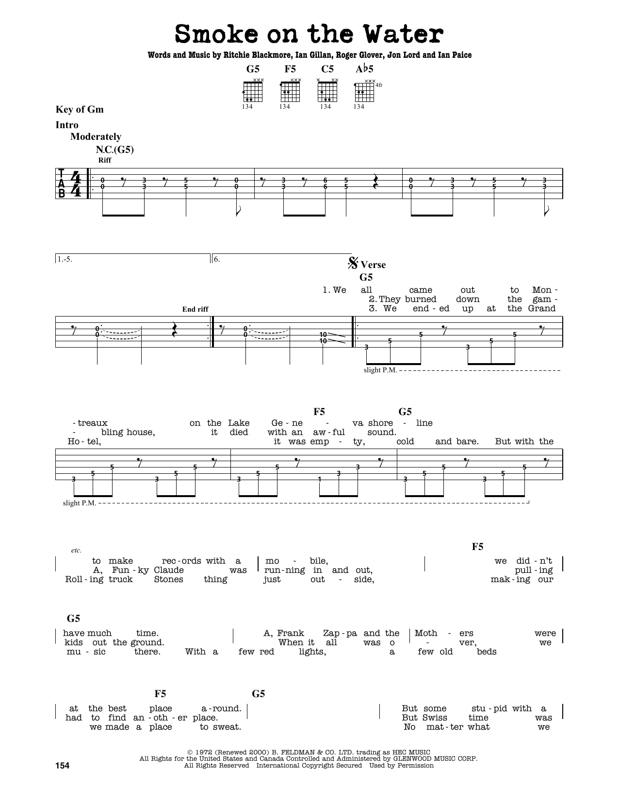 Partition autre Smoke On The Water de Deep Purple - Tablature Guitare Lead