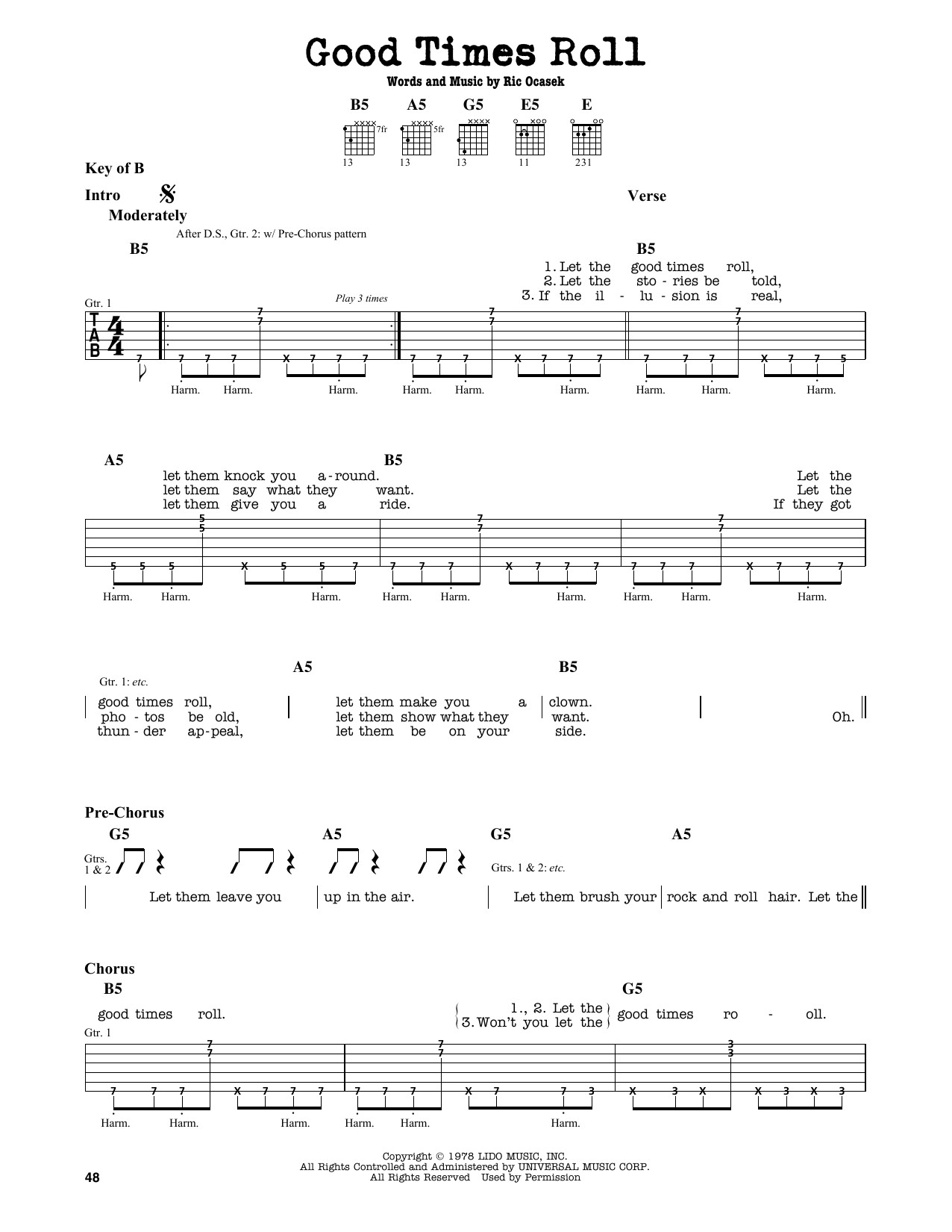 Partition autre Good Times Roll de The Cars - Tablature Guitare Lead